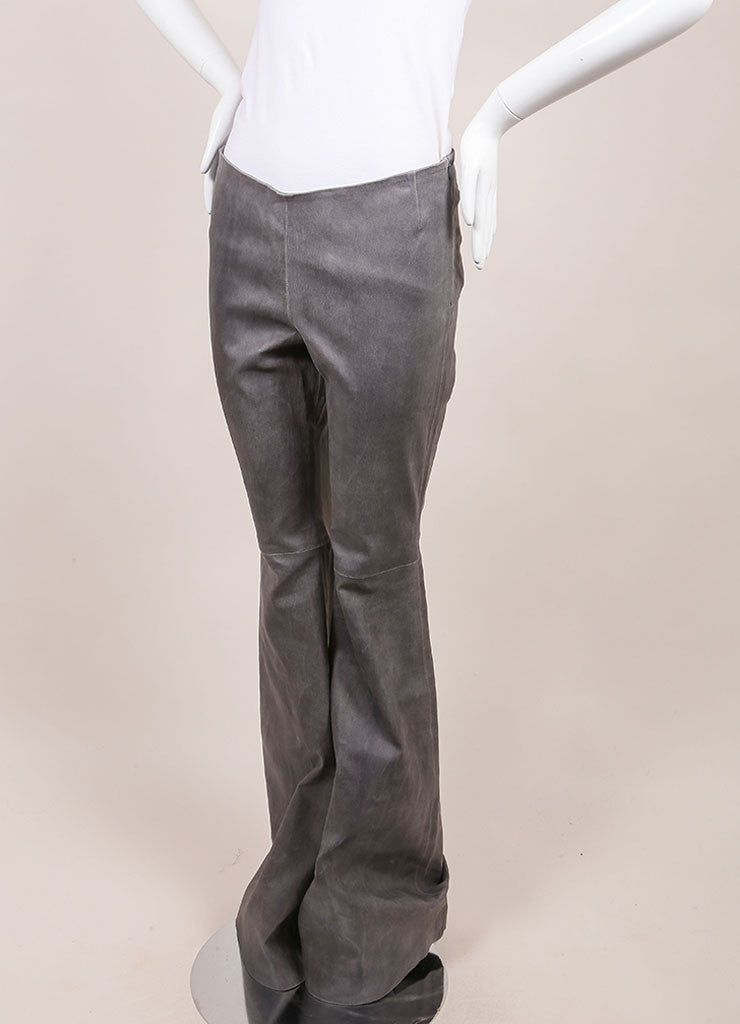 Wes Gordon New With Tags Grey Lambskin Flare Pants Sideview
