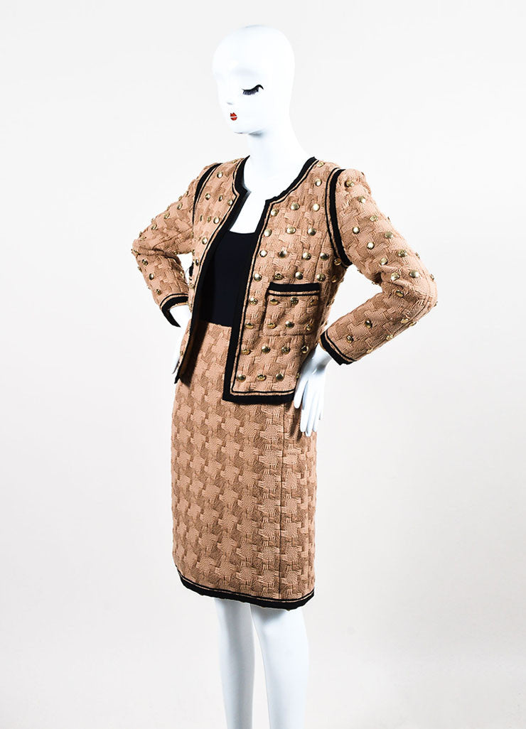 Tan and Black Chanel Woven Button Embellished Skirt Suit Sideview