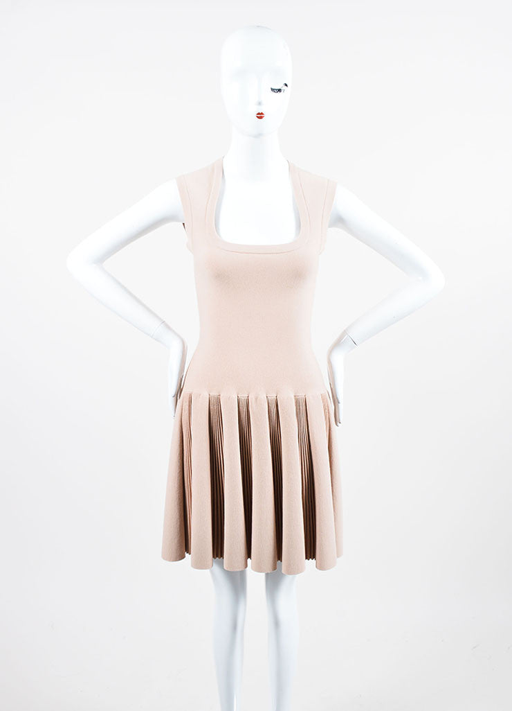 Beige Alaia Sleeveless Scoop Neck Pleated Dress Frontview