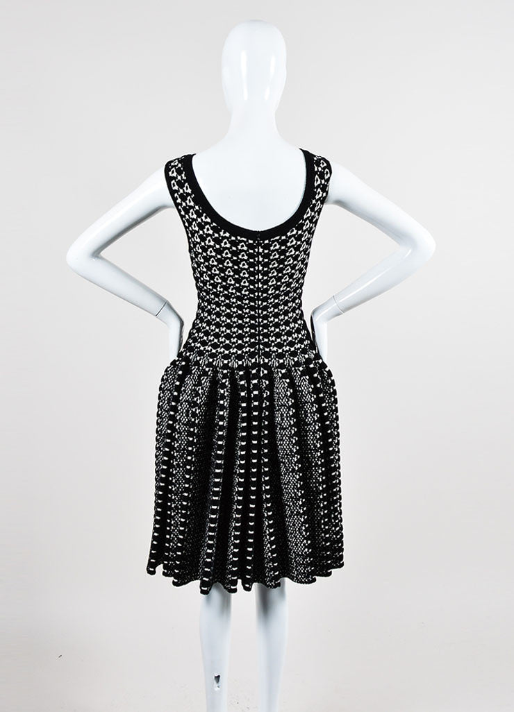 Black and White Alaia Thick Knit Patterned Pleated Flare Dress Backview