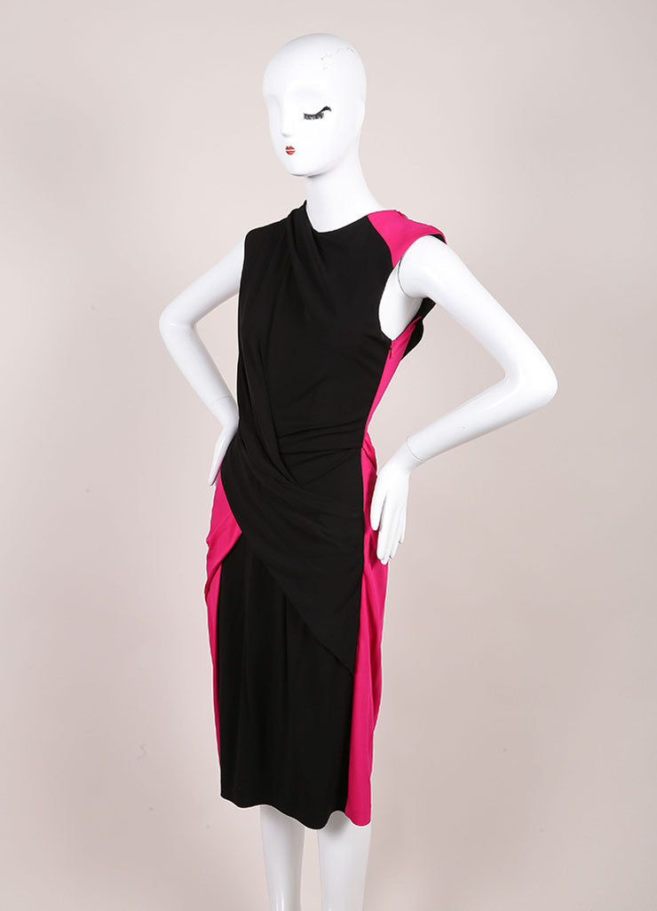 Alexander New With Tags Pink And Black Color Block Twist Sheath Dress Sideview