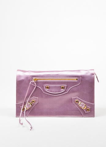 Pink Balenciaga Satin Moto Flap Clutch Bag Frontview