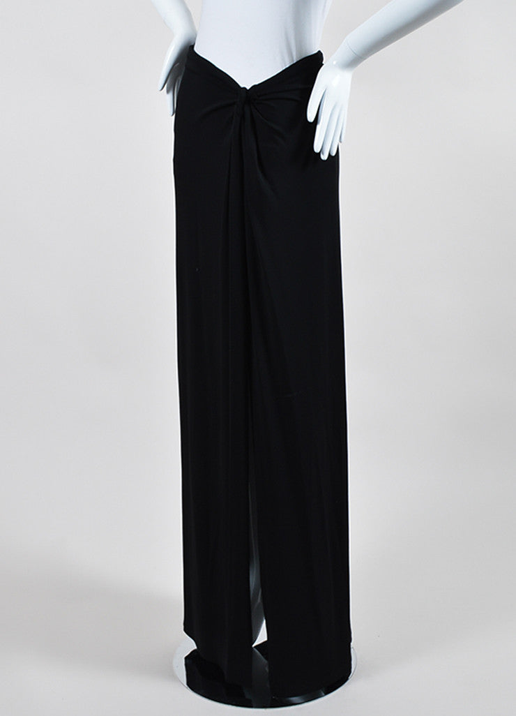 Black Celine Stretch Knotted Detail Hip High Side Split Maxi Skirt Sideview
