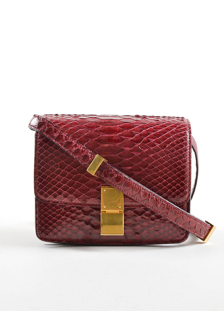 Celine Dark Red Snakeskin Leather Small Flap Box Bag Frontview