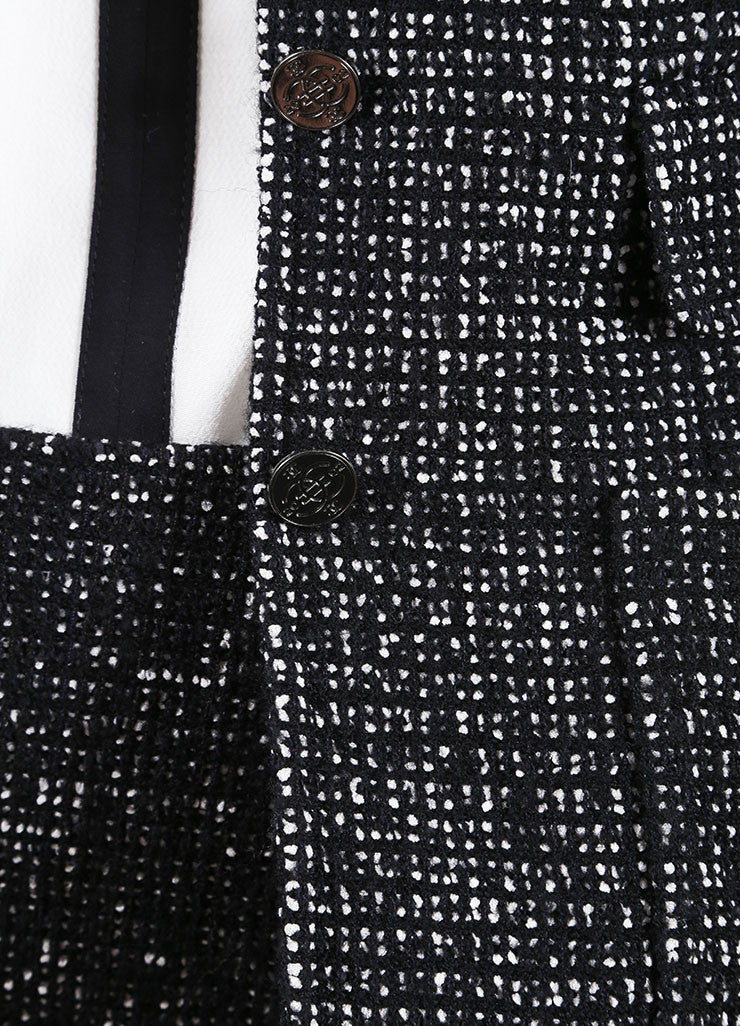 Chanel Black and White Wool Blend Tweed Skirt Suit Detail