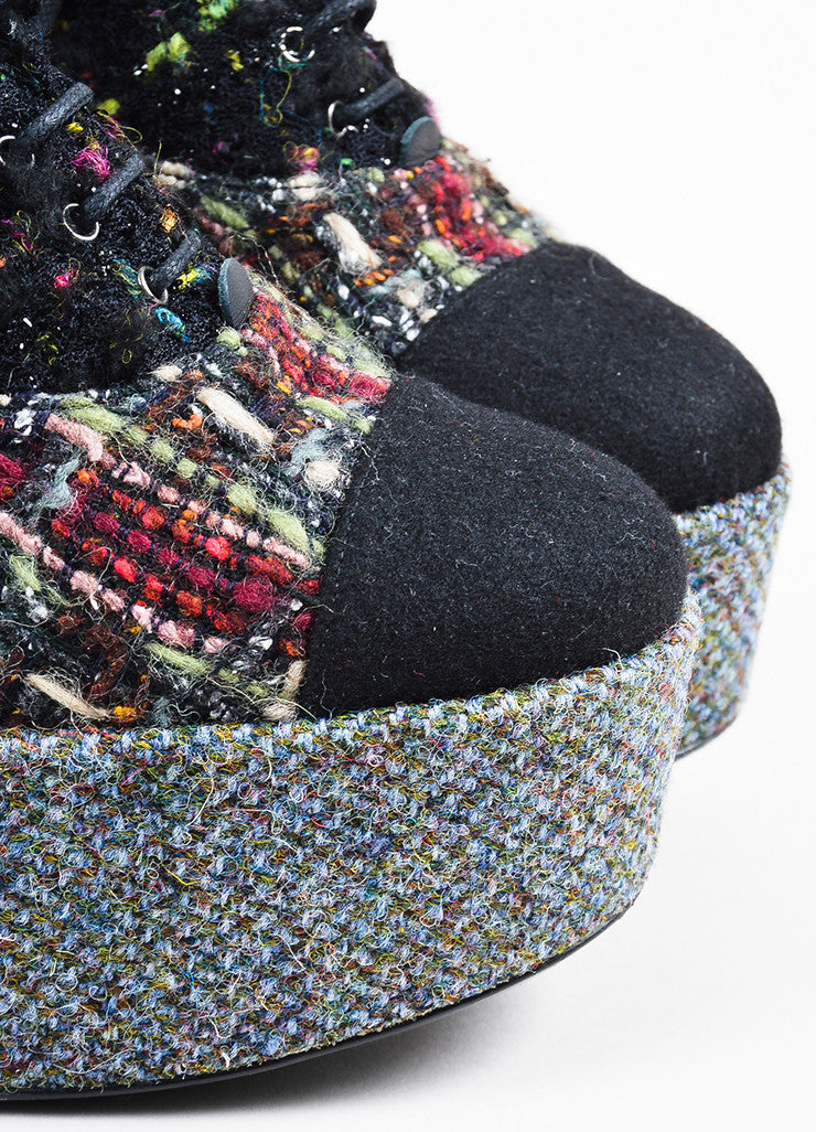 Chanel Black and Multicolor Tweed and Boucle Lace Up Platform Shoes Detail