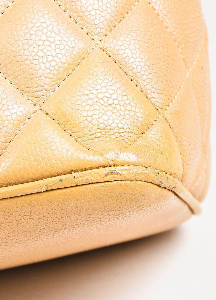 "Chanel Beige Quilted Caviar Leather 'CC' Logo ""Medallion Tote"" Bag Detail"