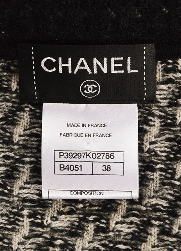 Chanel Black and Grey Mohair, Silk, and Cashmere Embellished Tweed Sweater Jacket Brand