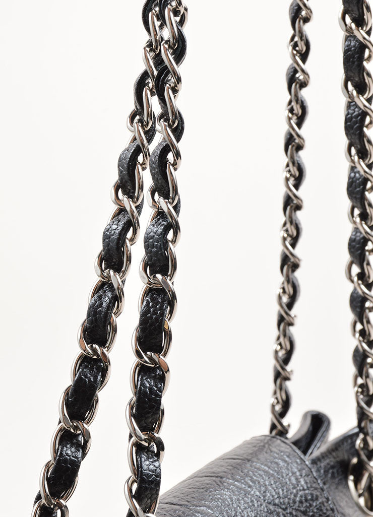 Chanel Black and Silver Toned Grained Leather Chain Strap Mademoiselle Shoulder Bag Detail 2