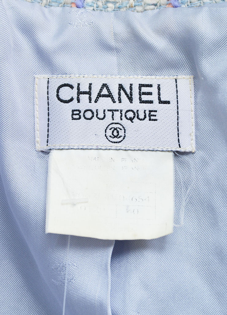 "Chanel Light Blue and Multicolor Wool and Cotton ""CC"" Button Tweed Coat Brand"