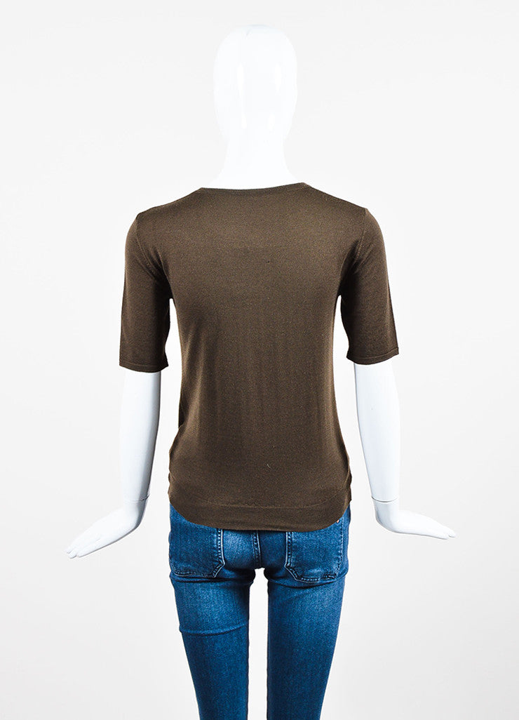 Chanel Brown Wool Knit Crew Neck Short Sleeve Top Backview