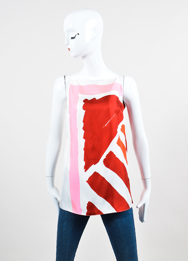 White and Multicolor Christian Dior Brush Print Silk Slit Tank Top Frontview