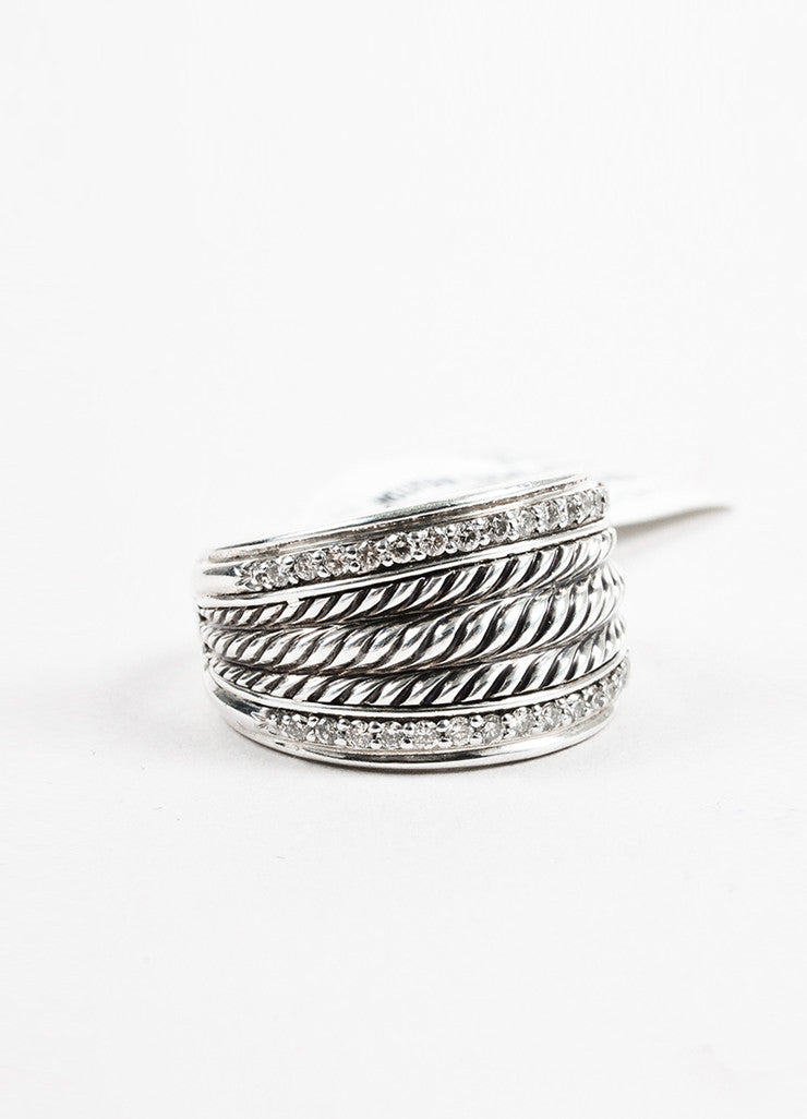 "David Yurman Sterling Silver and Diamond ""Wheaton Band"" Cable Ring Frontview"