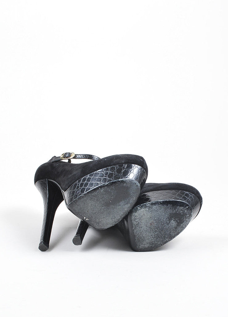 Black Fendi Suede and Crocodile Embossed Leather Mary Jane Platform Pumps Outsoles