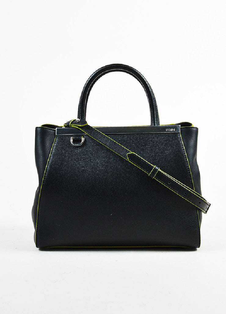 "Fendi Black and Green Leather Apple Charm ""Petite 2 Jours"" Tote Bag Frontview"