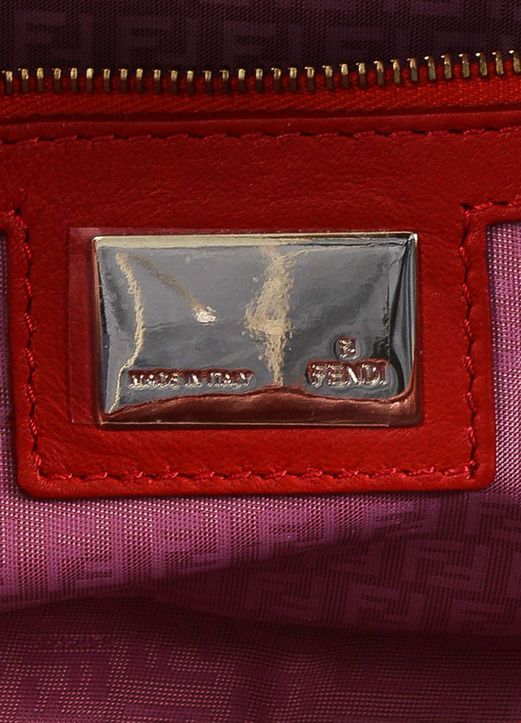 Red Fendi Leather Embossed Baguette Bag Brand
