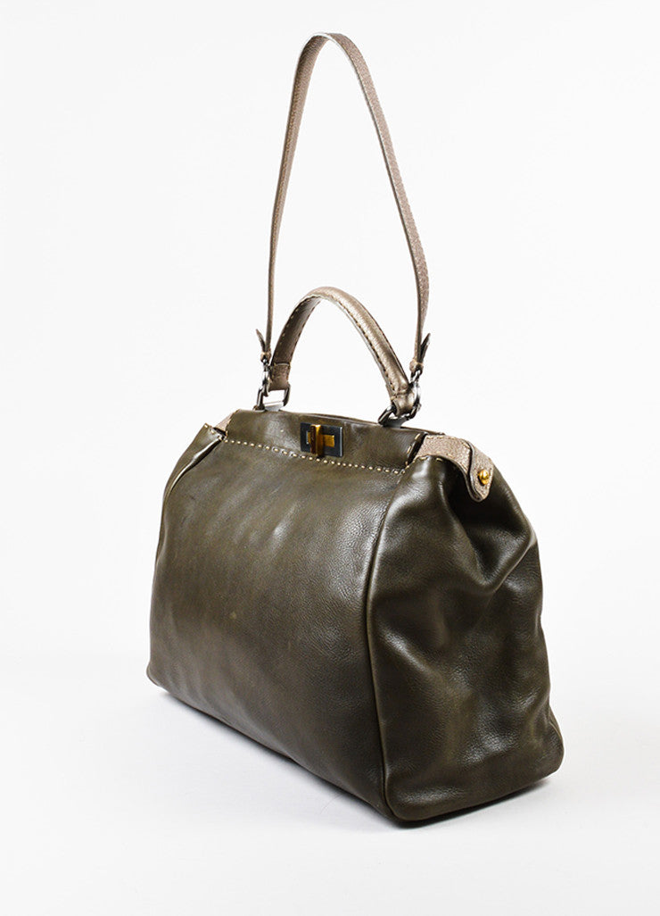 "Olive Green and Grey Leather Fendi Selleria ""Large Peekaboo"" Satchel Bag Sideview"