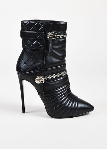 Giuseppe Zanotti Black Leather Quilted Silver Toned Zipper Heeled Booties Sideview