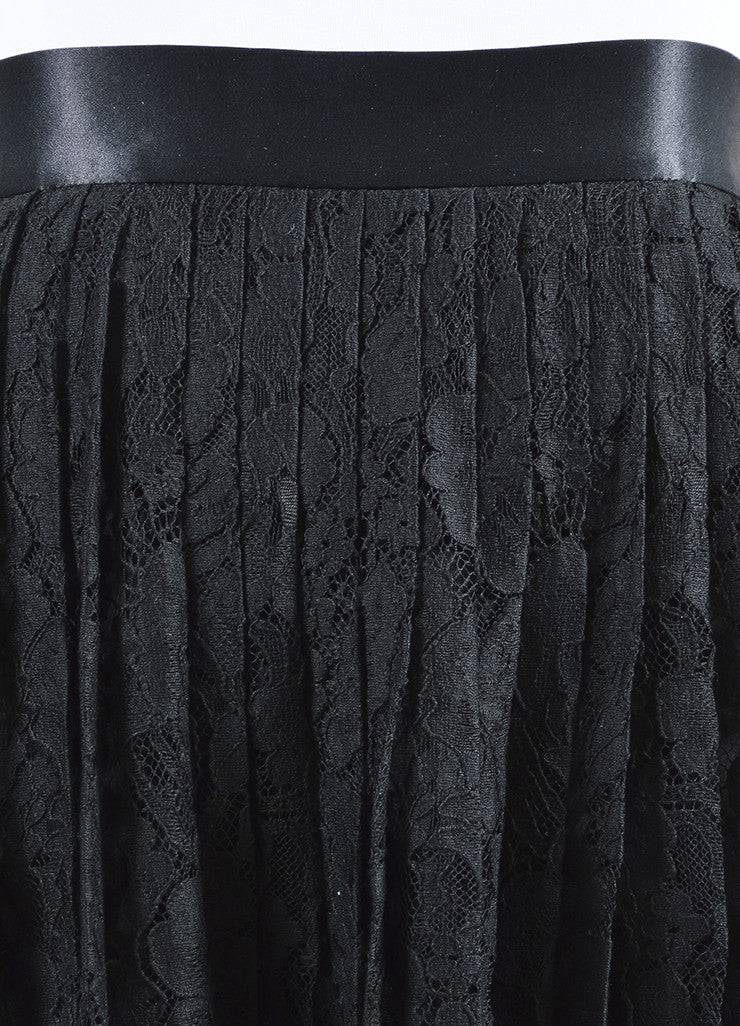 Black Givenchy Floral Lace Satin Trim Pleated Midi Skirt Detail