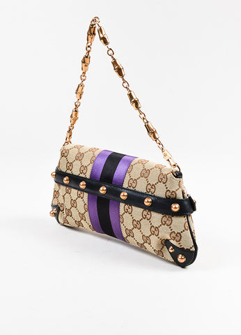 Gucci Beige, Black, and Purple Canvas Satin Leather Metal Horsebit Monogram Bag Sideview