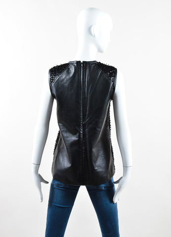 J. Mendel Black Leather Coated Textured Sleeveless Top Backview
