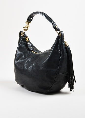 "Black Jimmy Choo Leather Studded Embellished ""Solar Zodiac"" Hobo Bag Back"
