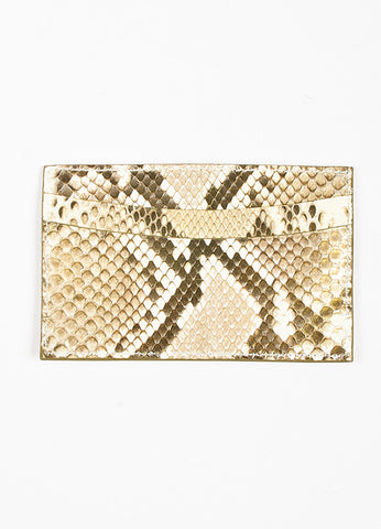 Judith Leiber Metallic Gold and Cream Karung Snakeskin 5 Slot Card Holder Backview