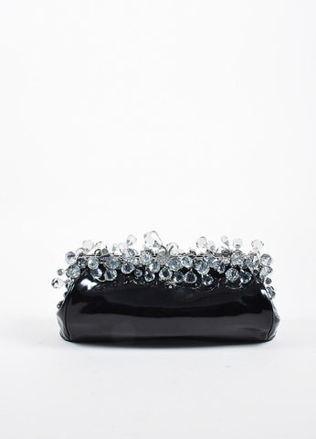 "Black and Grey Prada Patent Leather Crystal ""Vernice"" Clutch Bag Frontview"