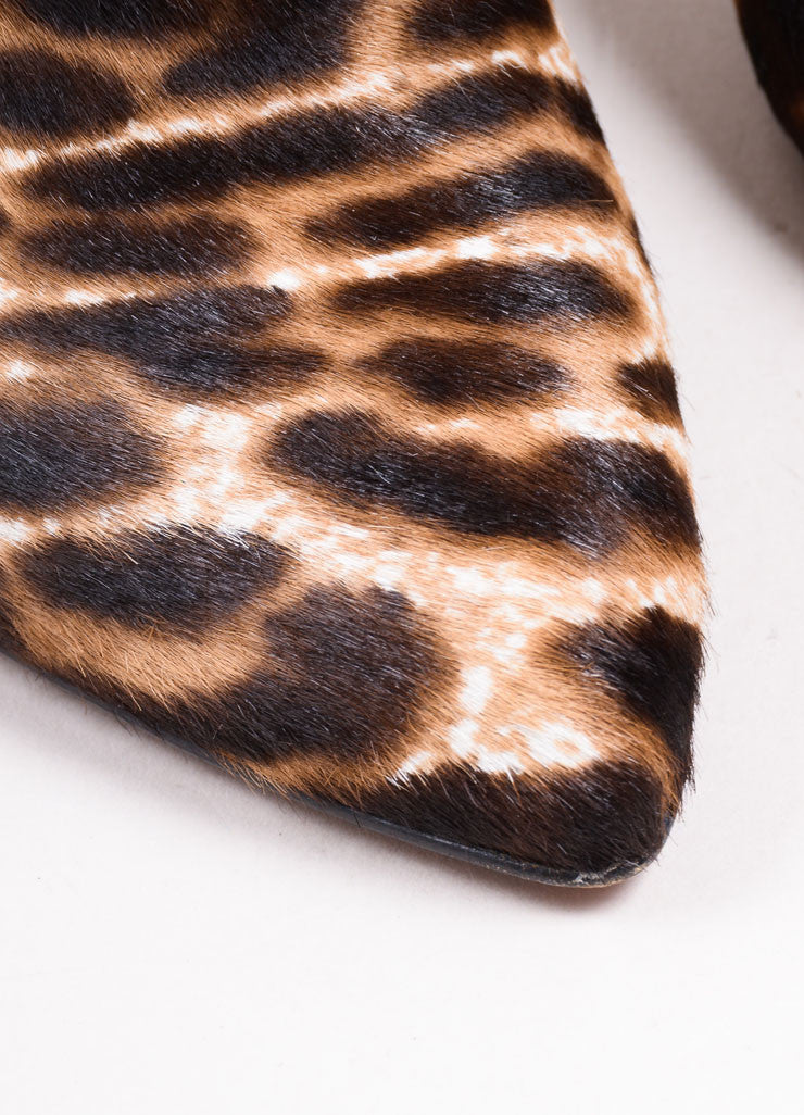 Lanvin Brown and Cream Pony Hair Leopard Print Pointed Toe Booties Detail