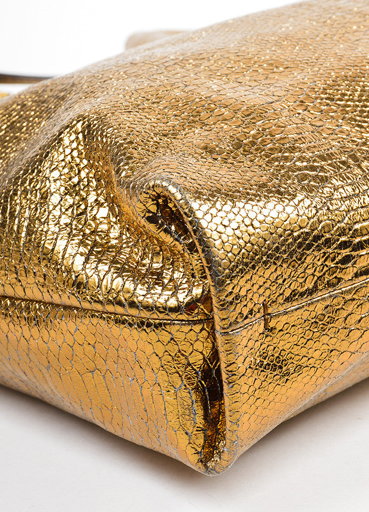 "Metallic Gold Lanvin Leather Python Embossed North South ""Carry Me"" Tote Bag Detail"