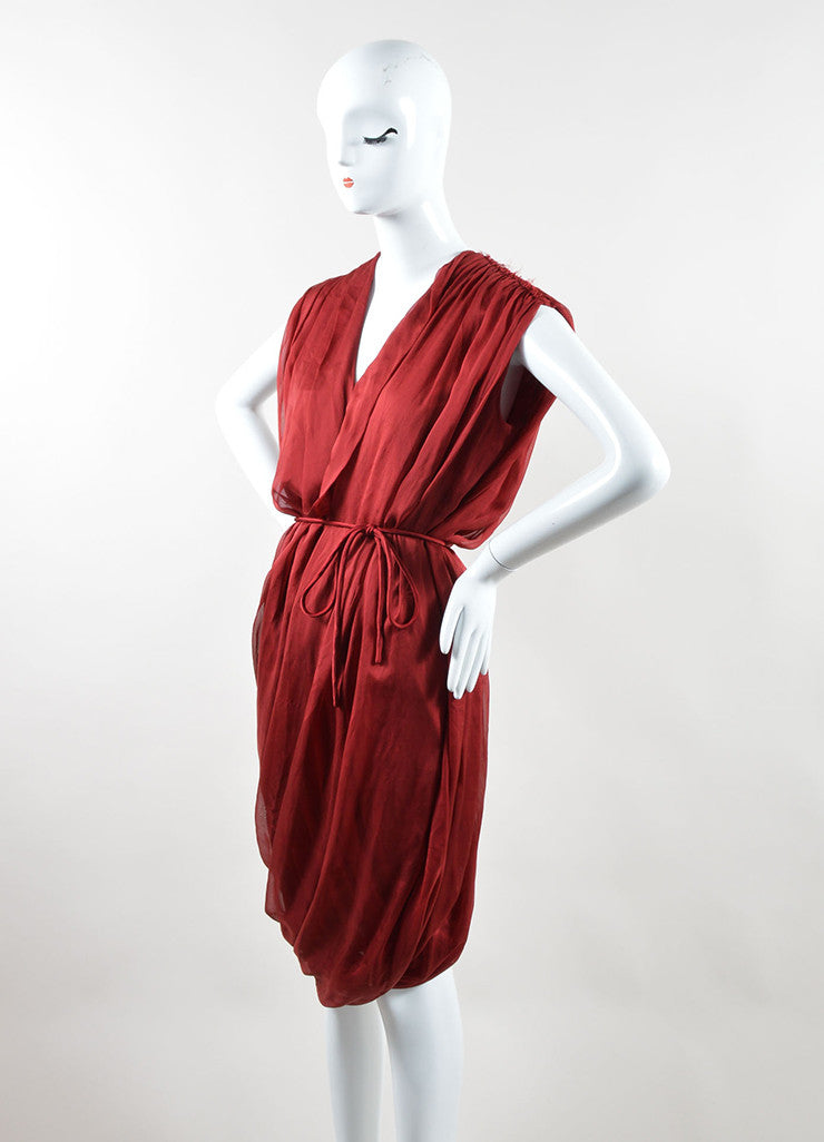 Red Lanvin Silk Sleeveless Tie Belted Sack Dress Front