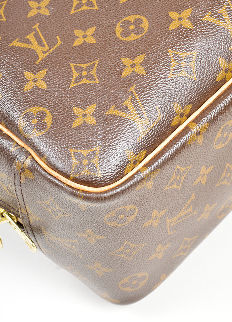 Brown Louis Vuitton Monogram Canvas Top Handle Satchel Detail
