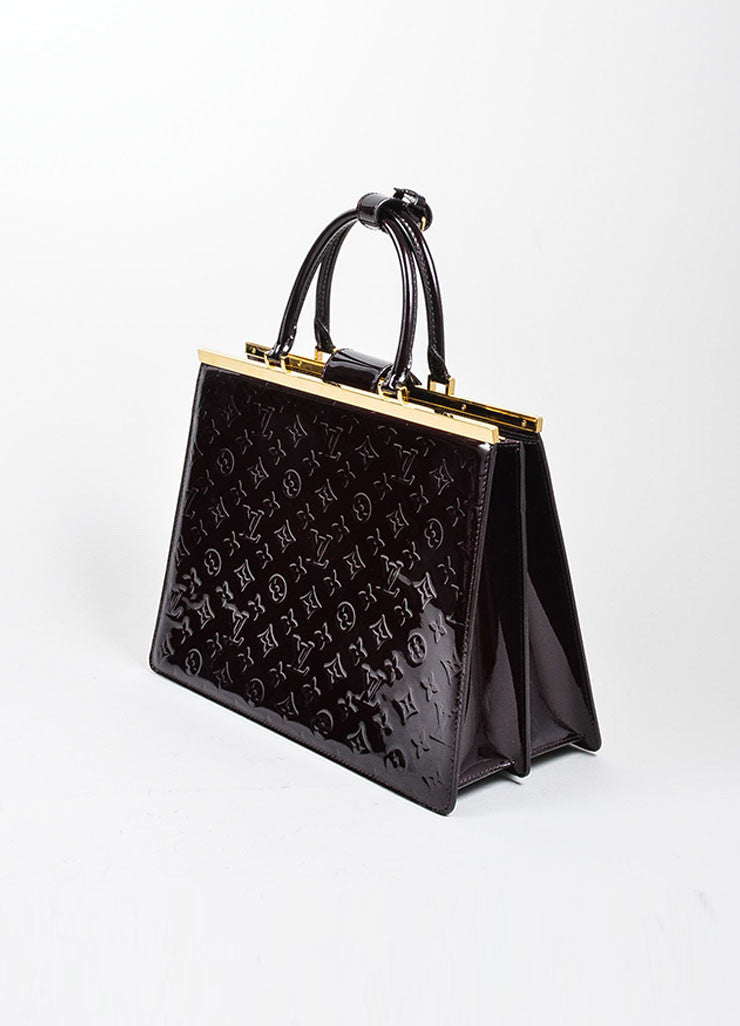 "Eggplant Louis Vuitton ""Amarante"" Leather Monogram ""Vernis Deesse GM"" Bag Sideview"