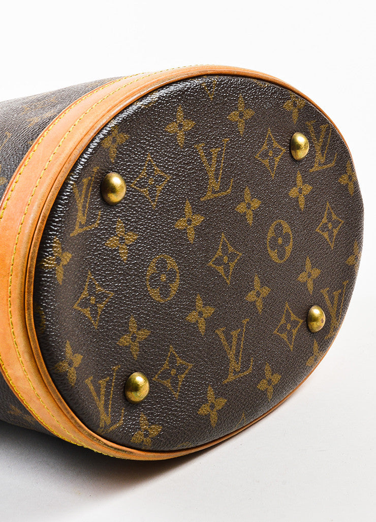 "Brown Louis Vuitton Coated Monogram Canvas Leather ""Petit Bucket"" Bag Detail"