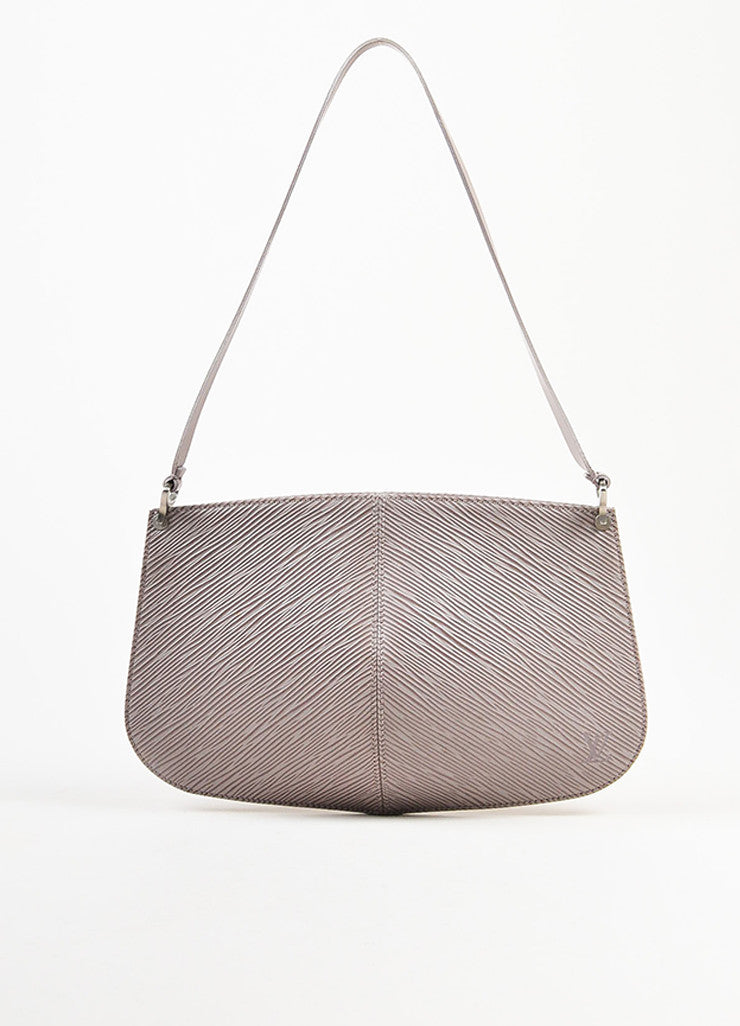 "Louis Vuitton Grey Lilac Epi Leather ""Demi Lune"" Pochette Bag Frontview"