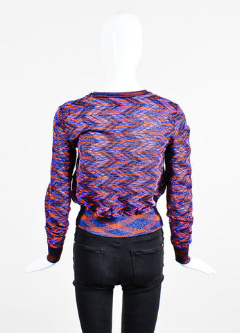 Purple and Red M Missoni Textured Wavy Knit Spacedye Cropped Cardigan