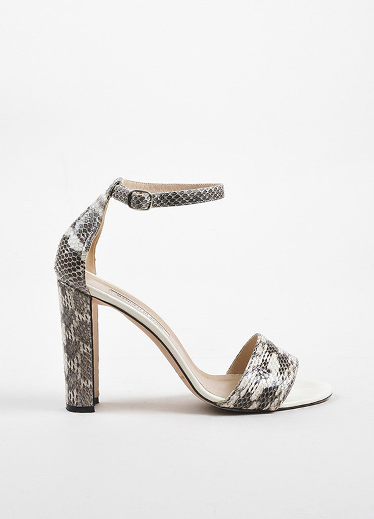 "Manolo Blahnik White and Black Snakeskin Chunky Heel ""Lauratopri"" Sandals Sideview"