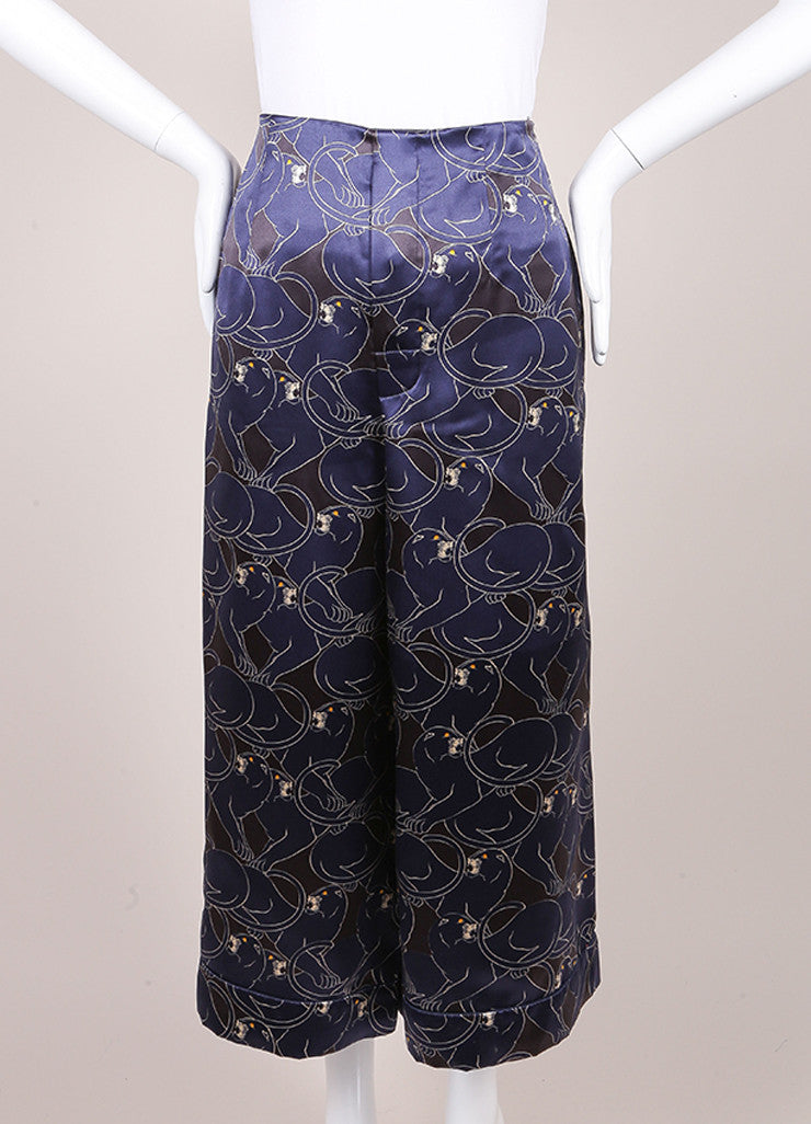 "Marc Jacobs New With Tags Navy and Black Silk ""Disco Panther"" Gaucho Culotte Pants Frontview"