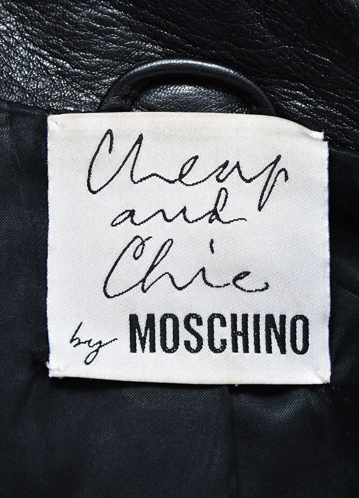Moschino Cheap and Chic Black and White Leather Striped Moto Jacket Brand