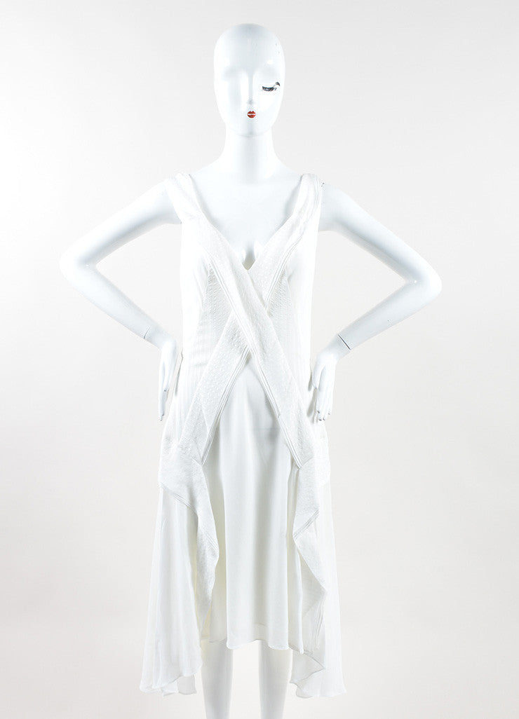 "Mulberry White Silk Ruffle Asymmetrical ""Blossom"" Flounce Dress Frontview"