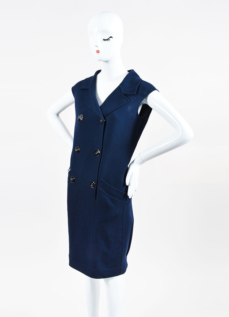 Navy Oscar de la Renta Wool Double Breasted Sleeveless Dress Sideview