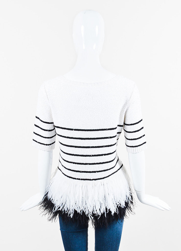 White and Black Oscar de la Renta Silk Knit Sequin Feather Striped Short Sleeve Top Backview