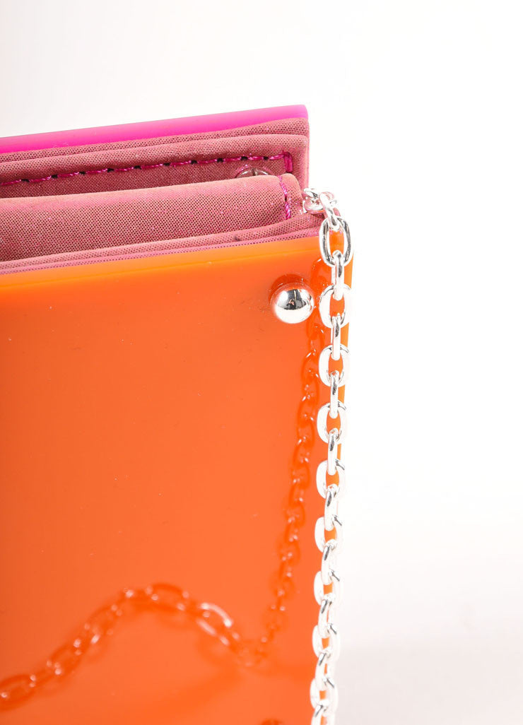 Overture Judith Leiber Orange and Pink Color Block Panel Chain Strap Clutch Bag Detail 3