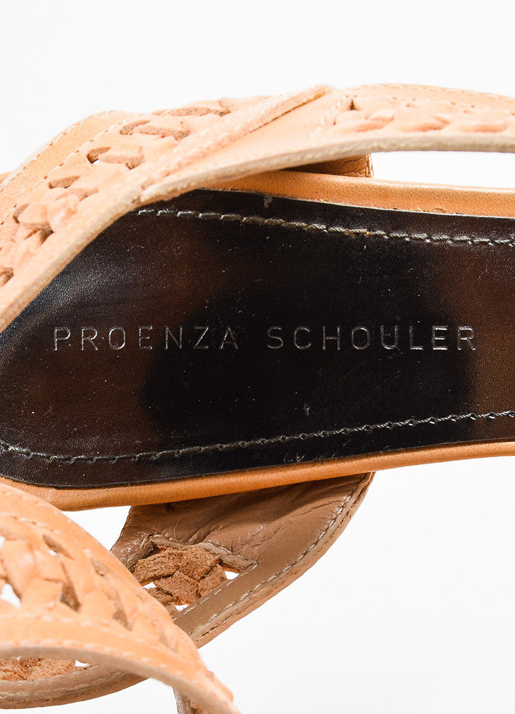 Proenza Schouler Light Tan Woven Leather Platform Sandal Heels Brand