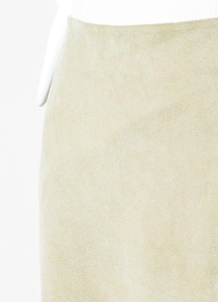 "Sand Beige The Perfext Suede Leather ""Mimi 24"" Fringe Midi Skirt Detail"