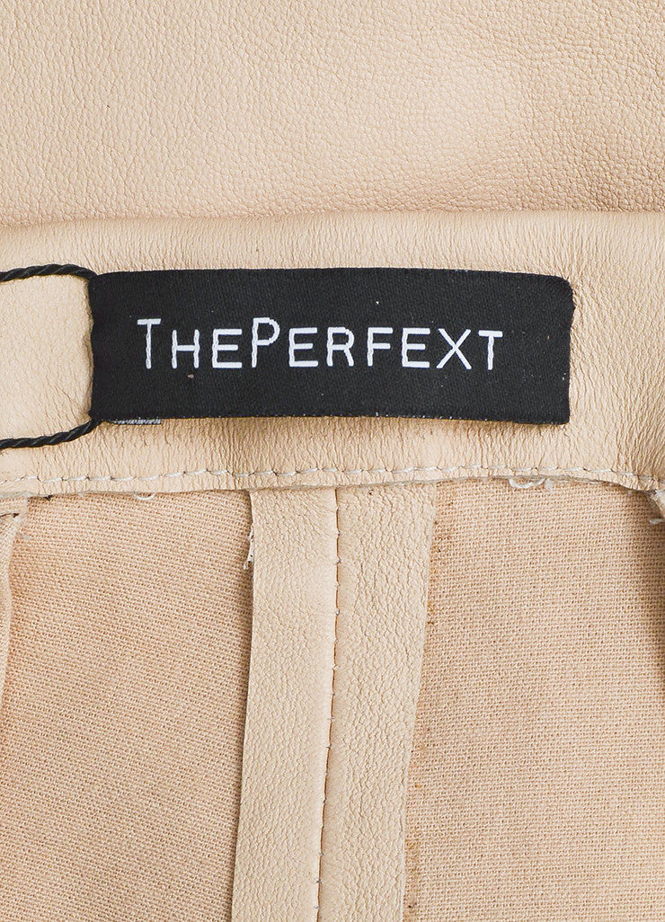 The Perfext Nude Beige and Black Leather Skinny Legging Pants Brand