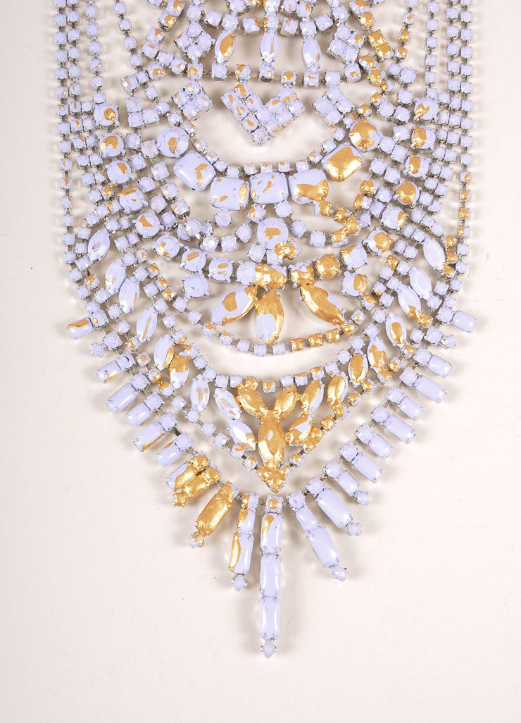 Tom Binns Purple, Gold Toned, and Silver Toned Painted Rhinestone Tiered Drop Necklace Detail