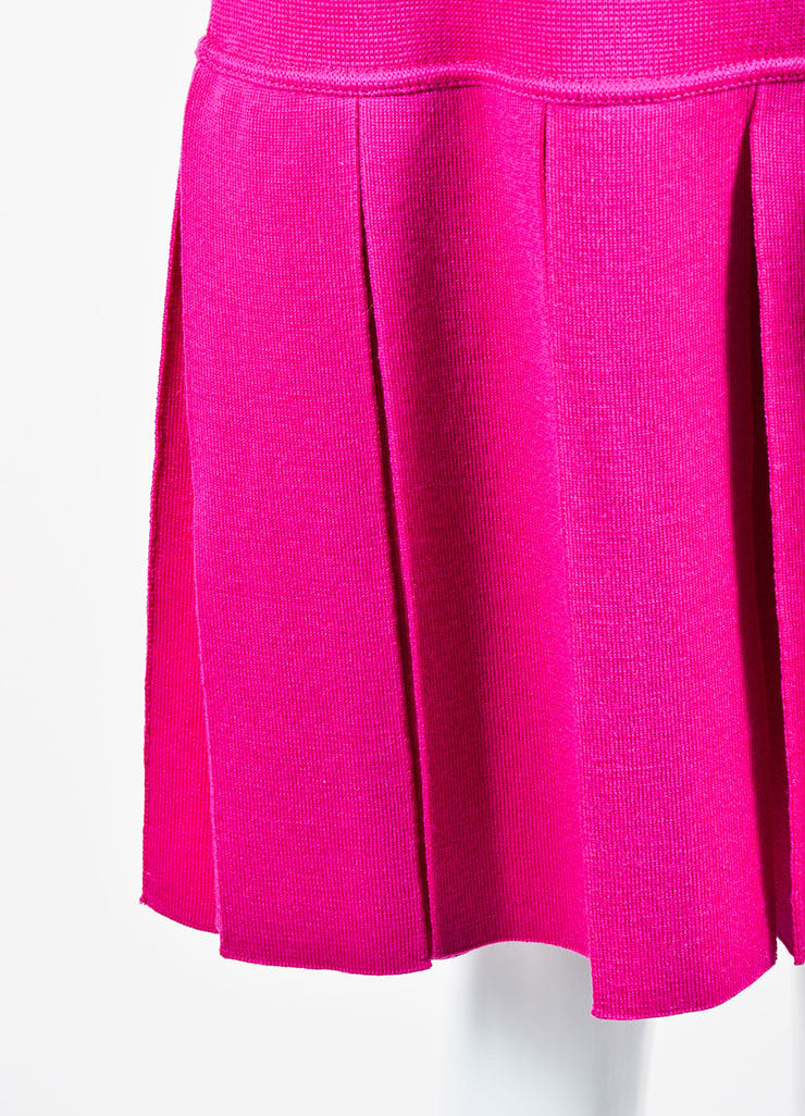 Magenta Pink Chanel Wool Knit Pleated Knee Length Skirt Detail