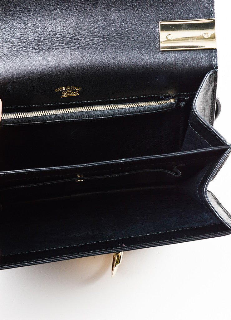 "Gucci Black Leather ""1973 Small Top Handle"" Shoulder Bag Interior"