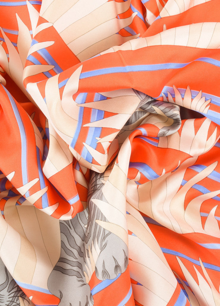 Hermes Orange and Blue Tiger Print Silk Scarf Detail